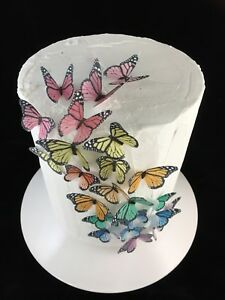Cake Decoration Butterfly Monarch 20pc Realistic Christmas Lolly Buffet Sweets