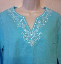 Women's Turquoise Periwinkle Linen  Blouse Size M Beach Shells Ocean NWT WS30