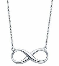 Infinity 14K Solid White Gold Classic Dainty Infinity Pendant Necklace