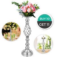 Candle Holder Vase for Wedding Metal Flower Rack Candlestick Centerpiece Silver