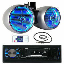 """Silver 6.5"""" LED Wake Board Tower Speakers,Bluetooth USB Marine Receiver, Antenna"""