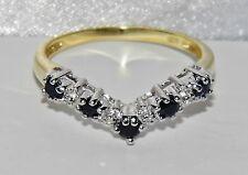 9 karat Gelb Gold & Silber Saphir & Diamant Querlenker Ewigkeit Ring - Größe N