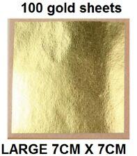 100 x 24K large  Imitation Metal Gold Leaf Sheets Art, Crafts, Design, Gilding,