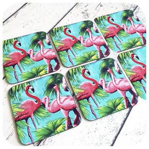 Pink Flamingo Coasters, Set of 6, Tropical Drinks Coasters, Kitsch Home Decor