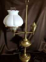 Vintage Brass Student Lamp With White Globe