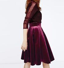 (MSRP $350) Maje Pleated Burgundy Velvet Skirt Janice size 34