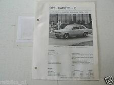 O49--OPEL KADETT C 1973-1974 COACH,SEDAN,COUPE,STATIONCAR ,TECHNICAL INFO CAR