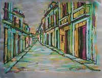 Carlos Eric Untitled Mixed on Paper 19X25 Original Painting Cuban Art 2001