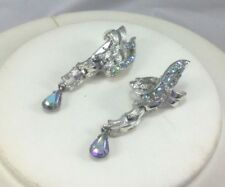 Coro Earrings Rhinestone Aurora Borealis Textured Silver Flat Chain Clip On Drop