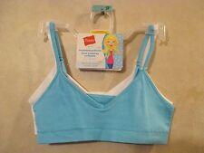 2 Pack Girls HANES S White Blue Seamless Pullover Cotton Spandex Training Bra