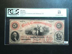 July 10 1861 Bank Commonwealth Virginia $5.00 Obsolete Note Graded PCGS FINE 15