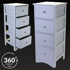 4 Drawer Bathroom Storage Cabinet White Wooden Unit Cupboard Chest Of Drawers