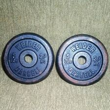 "2 Vintage Weider 5 Lb Barbell Weight Plates Standard 1"" Hole 10 Pounds Total"
