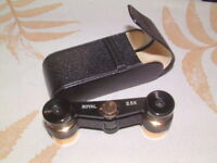 Compact Brass Cast Royal Adjustable Binoculars 2.5 X and carry case