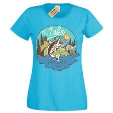 Grande Peces Camiseta Lake Pesca Mujer