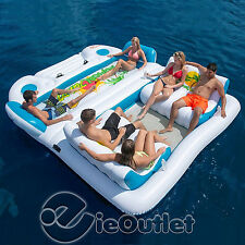 TROPICAL TAHITI INFLATABLE 6-PERSON FLOATING ISLAND POOL LAKE PARTY FLOAT RAFT