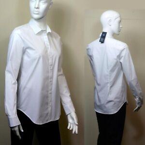 M&S Prima COTTON Long Sleeve SHIRT ~ Various Sizes ~ WHITE (rrp £29.50)
