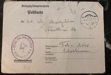 1941 Germany POW Camp Postcard Cover Stalag 18D to Tel Aviv Palestine Margolin