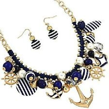 Anchor Necklace Nautical Charms Striped Helm Chain Link Rope Beach Gold Blue