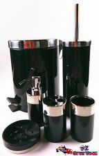 Stainless Steel Bathroom Set Rubbish Bin Toilet Holder Soap Dispense BLACK