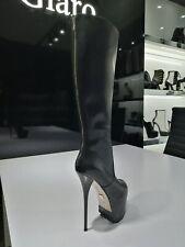 Giaro Plateau Knie Stiefel High Heel Platform Knee Boots Schwarz Cameron