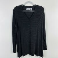 Chico's Travelers Size Large 12 2 Acetate Snap Button Top Black Brown Striped
