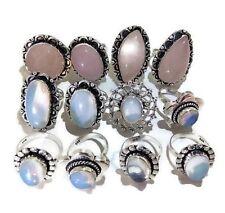 Bulk Sale 20 PCs. Opalite & Rose Quartz 925 Sterling Silver Plated Ring Jewelry