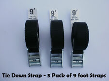 Tie Down and Cargo Straps – 3 Pack of 9' Straps