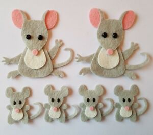 Felt mouse family Embellishments.Die cuts. Animal  die  cuts