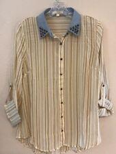 Anthropology Women's (L) Gold/White Striped Polyester Top 3/4 SL Blouse