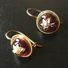 Rare antique cabochon garnet earrings with seed pearl stars in 9ct gold