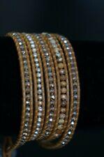 NEW Chan Luu Crystal Pearl Jasper Semi Precious Stone Silver 5 Wrap Bracelet