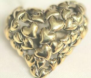 JOHN HARDY 925 & 18K YG HEART SHAPED PIN/BROOCH 6.4DWT/9.55G