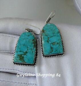 Belles Boucles d'oreilles pendantes décorées plaqué argent 925 Turquoise.