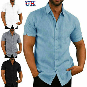 Mens Linen Style Short Sleeve Solid Shirts Casual Fit Formal Dress Top Tee Shirt