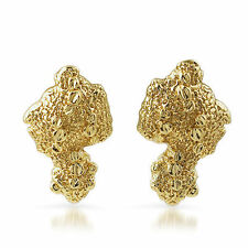 Gold Plated Vintage Large Nugget Earrings For Men