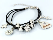 Genuine Braided Leather Charm Bracelet With Name - SHARON - Gifts for her