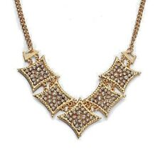 """Unique and Dazzling Austrian White Crystal Necklace - 18"""" in Goldtone"""