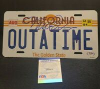 MICHAEL J FOX SIGNED OUTATIME LICENSE PLATE BACK TO THE FUTURE PSADNA AH48619