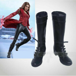 Captain America 3 Civil War Boots Cosplay Scarlet Witch Shoes Wanda Maximoff