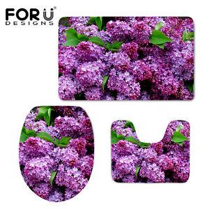 Purple Lilac Partten Bathroom Rugs 3Pcs Set Non-slip Pads 1.8cm Thick Carpet