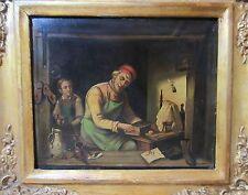 antique 1800's original craftsman wood worker teacher oil painting on copper