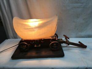 Vtg Covered Chuck Wagon TV Western Lamp Night Light Western Decor On Wood Base