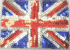 British Flag UK Sequin Union Jack Iron On / Sew On Patch Badge 6 x 8 cm GB