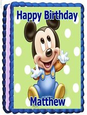 MICKEY MOUSE BABY EDIBLE CAKE TOPPER BIRTHDAY DECORATIONS