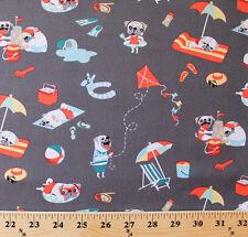 Pugs Day Off Pug Dogs Animal Pet Kites Beach Relax Cotton Fabric Print D770.46