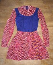 Vintage 60s 70s Mini Dress Long Sleeve Red Blue Groovy Xs
