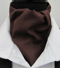 Mens Chocolate Brown 100% Quality Cotton Ascot Cravat & Pocket Square - UK Made