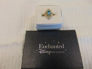 Enchanted Disney Aladdin Pear Shape Swiss Blue Topaz 1.10CT Ring 10K Y Gold Ring