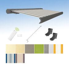Kassettenmarkise elektrisch Vollkassettenmarkise grau mit Farb-und Längenwahl